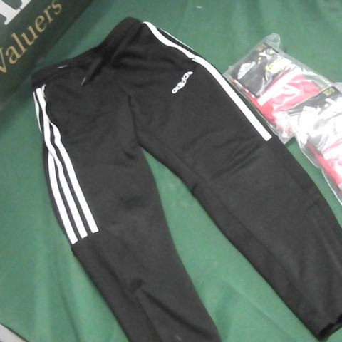 ADIDAS BLACK JOGGER BOTTOMS 9/10 WITH RED FOOTBALL SOCKS