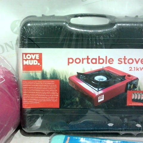 LOT OF 3 ASSORTED ITEMS TO INCLUDE: LOVE MUD PORTABLE STOVE, PINK MUMMY SLEEPING BAG SEASON 2 COOL POD (COOLS YOUR PETS DOWN)