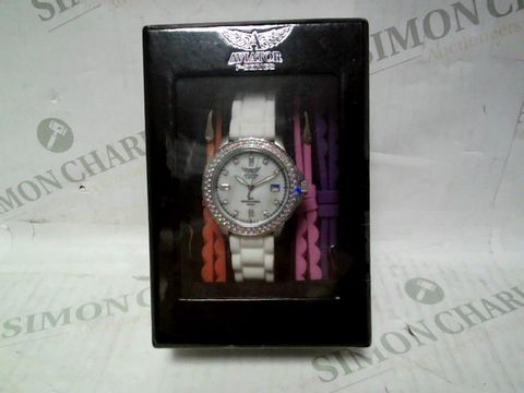 AVIATOR F-SERIES SILICONE STRPA WATCH WITH INTERCHANGEABLE STRAPS
