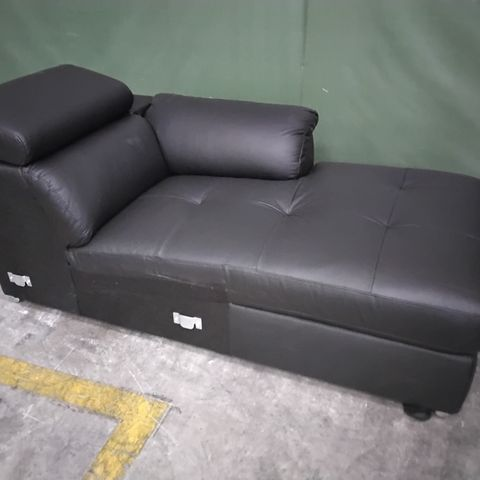 ITALIAN STYLE BLACK LEATHER CHAISE SOFA SECTION WITH ADJUSTABLE HEADREST