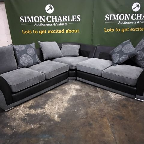 DESIGNER BLACK FAUX LEATHER & GREY FABRIC CORNER GROUP SIGH SCATTER CUSHIONS
