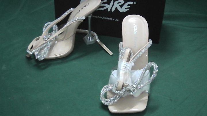 public desire glimmer nude/glitter heels uk size 3