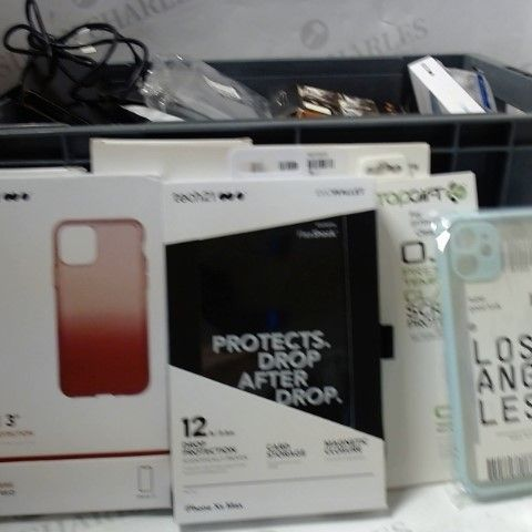 LOT OF APPROXIMATELY 35 ASSORTED PHONE CASES, SCREEN PROTECTORS, CABLES ETC