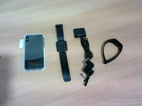 LOT OF 3 ASSORTED ITEMS TO INCLUDE GARMIN SMART WATCH, DESIGNER FITNESS TRACKER AND PHONE CASE