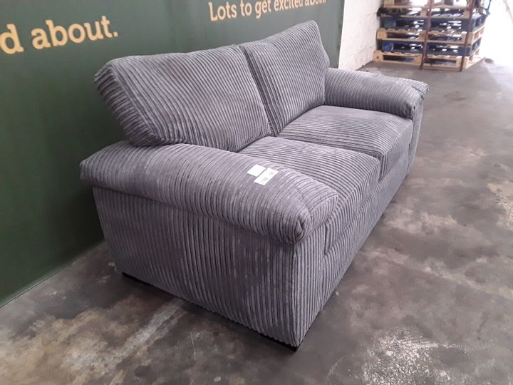 DESIGNER GREY LINED FABRIC TWO SEATER SOFA