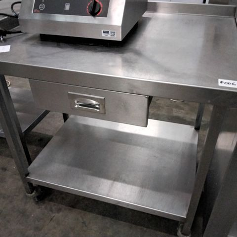 CATERING TWO TIER METAL TROLLEY WITH DRAWER