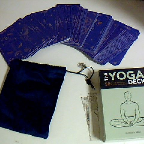 YOGA CARD DECK, SEALED AND BOXED, AND AN UNBRANDED CARD DECK THAT COMES IN BLUE VELET CARRY BAG