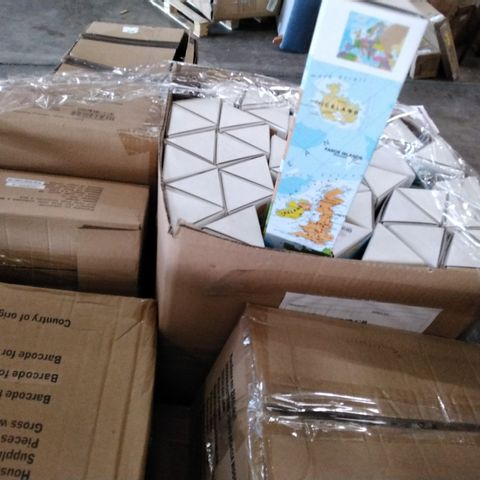 PALLET OF ASSORTED ITEMS TO INCLUDE GIFT DECORATIONS, A 90 PAPER CLIP SET, 150 PEN SET, PHONE COVER SETS, 26 MAGNETIC NOTE PADS AND 90 COASTER SET