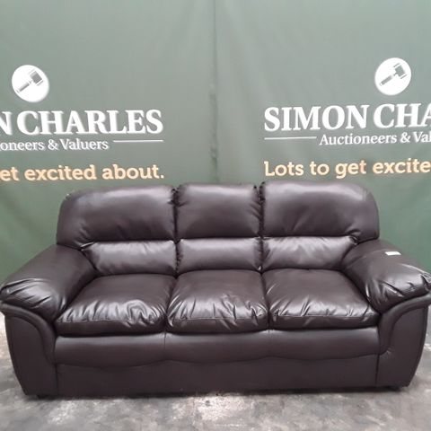 DESIGNER ROCHESTER BROWN FAUX LEATHER 3 SEATER SOFA