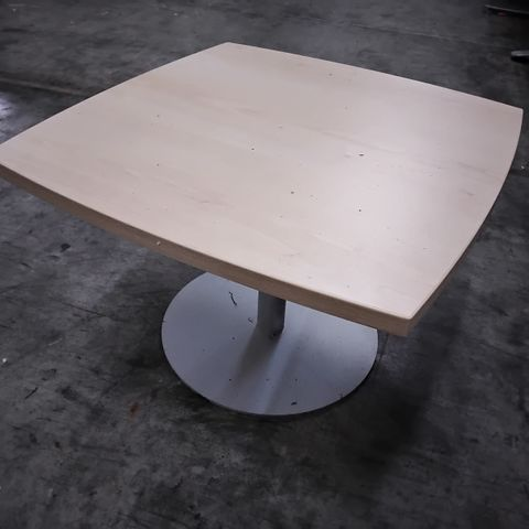 LIGHT WOOD OFFICE OCCASIONAL TABLE ON METAL PEDESTAL