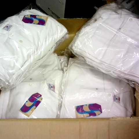 LOT 0F APPROXIMATELY 100 WHITE BOYS POLO SHIRTS IN VARIOUS SIZES