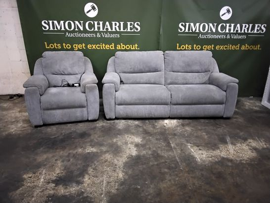 QUALITY ITALIAN DESIGNER GREY FABRIC POWER RECLINING LOUNGE SUITE, COMPRISING, THREE SEATER SOFA & EASY CHAIR