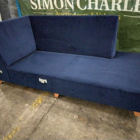 NAVY BLUE FABRIC CHAISE FRAME SECTION