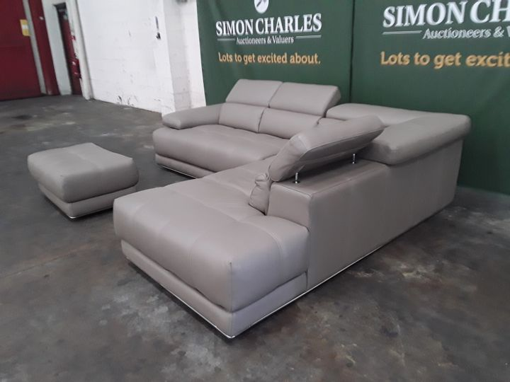 QUALITY ITALIAN TAUPE LEATHER UPHOLSTERED CHAISE SOFA AND FOOTSTOOL