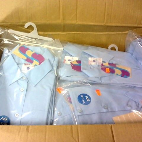 LOT 0F APPROXIMATELY 100 SKY BLUE BOYS SHIRTS IN VARIOUS SIZES