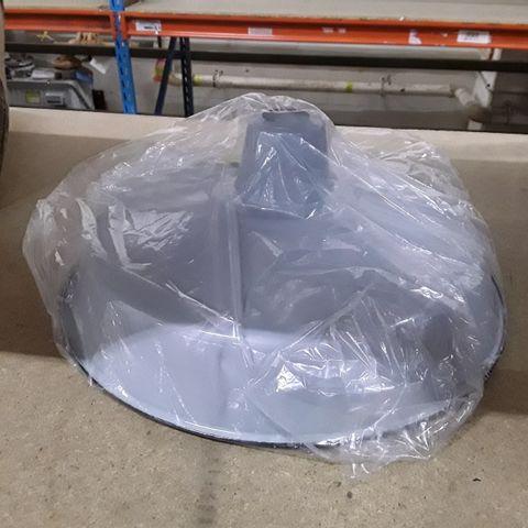 BOXED 45CM METAL BOWL LAMP - GREY FINISH
