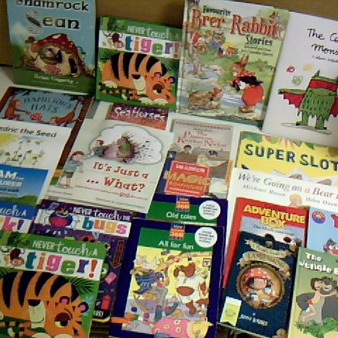 ASSORTMENT OF 22 CHILDRENS BOOKS TITLES INCLUDE SUPER SLOTH, THE JUNGLE BOOK AND A PIRATES GUIDE TO LANDLUBBING