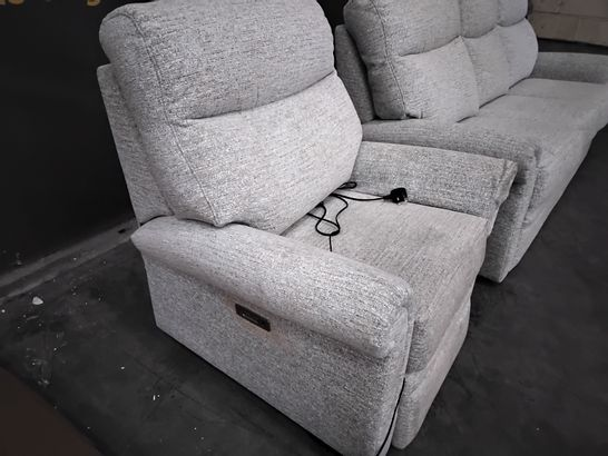 QUALITY G PLAN AVON KAMPALA DUCK EGG FABRIC LOUNGE SUITE, COMPRISING  FIXED THREE SEATER SOFA & POWER RECLINING EASY CHAIR