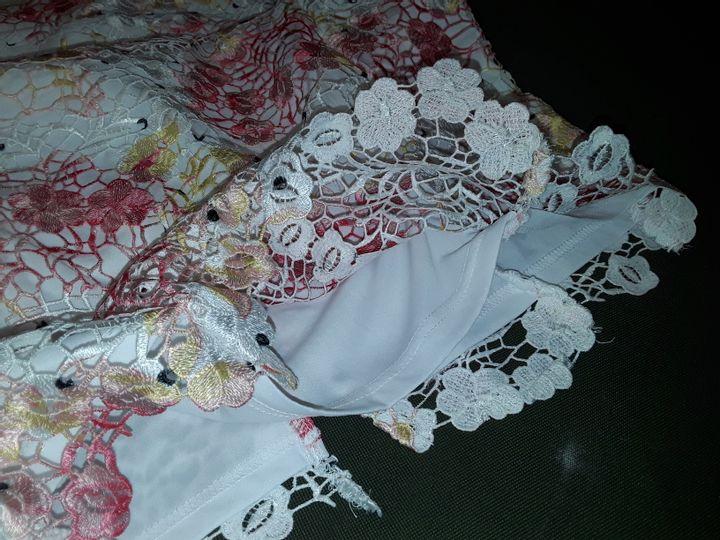 PAPER DOLLS FLORAL FLUTED DRESS IN WHITE/PINK - UK 14