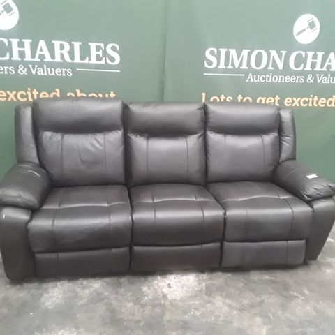 QUALITY PALERMO DARK BROWN FAUX LEATHER POWER RECLINING THREE SEATER SOFA
