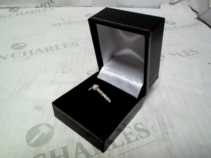 LOVE DIAMOND 9CT WHITE GOLD 50 POINT TOTAL DIAMOND SOLITAIRE RING WITH DIAMOND MICRO SET SHOULDERS