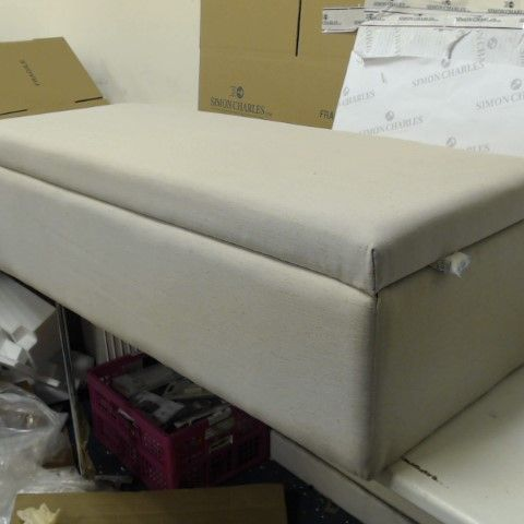 K BY KELLY HOPPEN RECTANGULAR OTTOMAN WITH STORAGE CREAM- COLLECTION ONLY