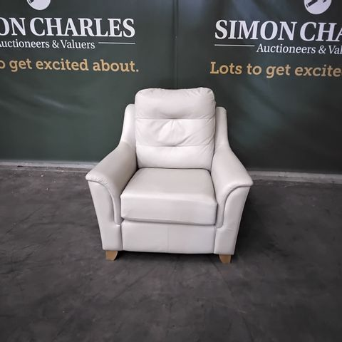 QUALITY G PLAN HEPWORTH OXFORD CHALK LEATHER FIXED EASY CHAIR