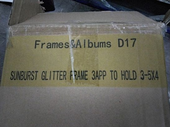 PALLET OF APPROXIMATELY 69 CASES EACH CONTAINING 6 SUNBURST GLITTER FRAMES TO HOLD 3 × 5 × 4 PICTURES