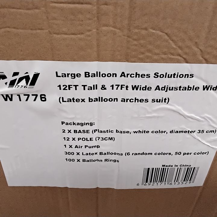 PALLET OF BOXED ITEMS INCLUDING BALLOON ARCH KITS, MAGAZINE RACKS, PORTABLE LAPTOP TABLES.