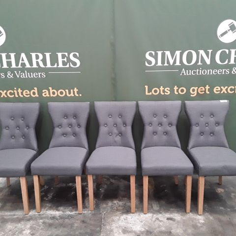DESIGNER BEWLEY SLATE FABRIC DINING CHAIRS WITH OAK-EFFECT LEGS