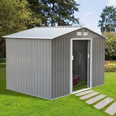 BOXED PEACE 8X3FT METAL GARDEN SHED (1 BOX)