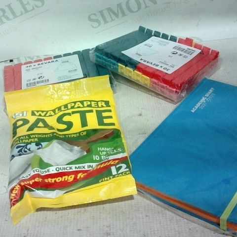 LOT OF APPROX. 13 ASSORTED ITEMS TO INCLUDE: WALLPAPER PASTE, BAG CLIPS, NOTEBOOK