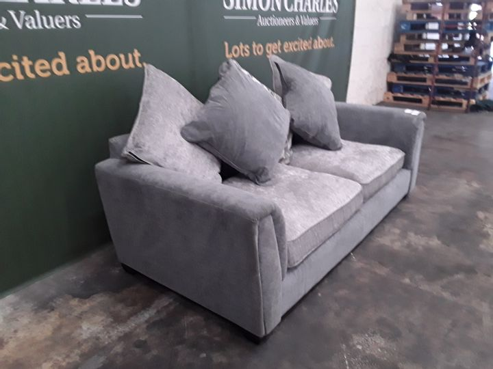 DESIGNER GREY FABRIC THREE SEATER SOFA WITH SCATTER BACK CUSHIONS