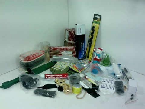 SMALL BOX OF ASSORTED HOMEWARE ITEMS TO INCLUDE HINGES, CAPACITORS, GARDENING GLOVES