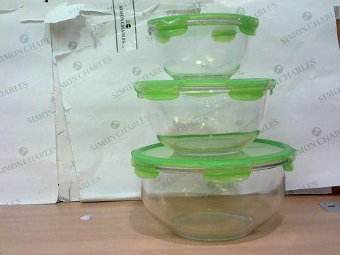 LOCK & LOCK 3 PIECE NESTABLE OVEN-SAFE GLASS PREP & STORE BOWLS