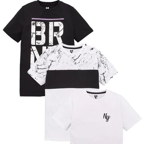 BOYS 3 PACK BRNX/MARBLE/OMBRE T-SHIRT - MULTI (LOT OF APPROXIMATELY 13) SIZE 9 YEARS