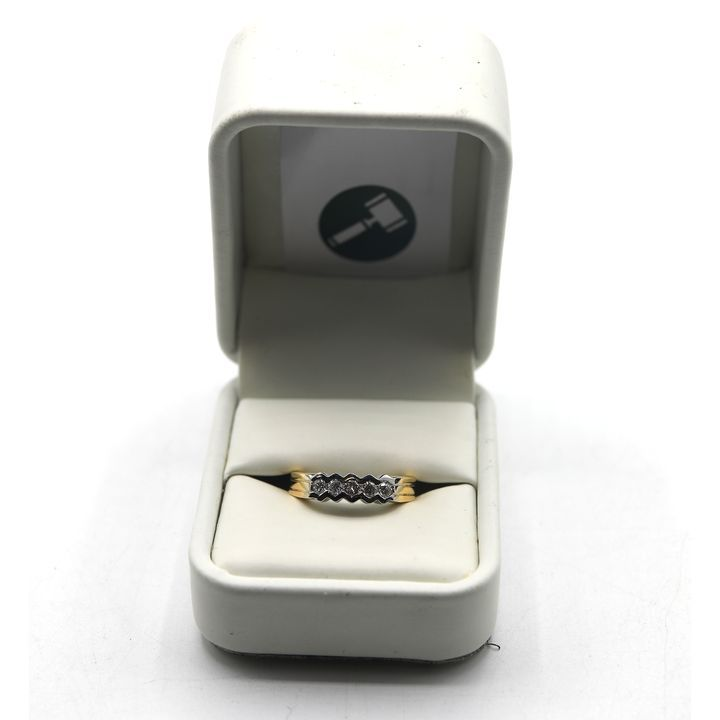 DESIGNER 18ct GOLD FIVE STONE DIAMOND SET HALF ETERNITY RING