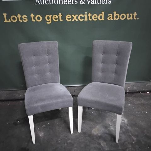 PAIR OF DESIGNER MARIGOLD UPHOLSTERED SINGLE DINING CHAIRS - SMOKE GREY FABRIC, ANTIQUE WHITE LEGE