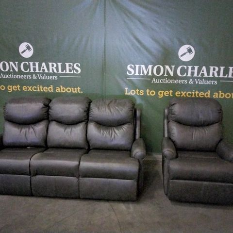 QUALITY G PLAN NETTLETON REGENT CHARCOAL LEATHER LOUNGE SUITE, COMPRISING, FIXED THREE SEATER SOFA & MANUAL RECLINING EASY CHAIR