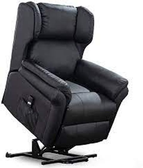 BOXED OAKFORD BLACK FAUX LEATHER RISE RECLINER ARMCHAIR (2 BOXES)
