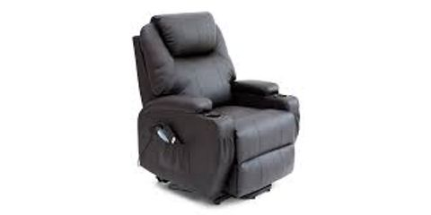 BOXED CINE BROWN FAUX LEATHER RISE RECLINER CHAIR (2 BOXES)