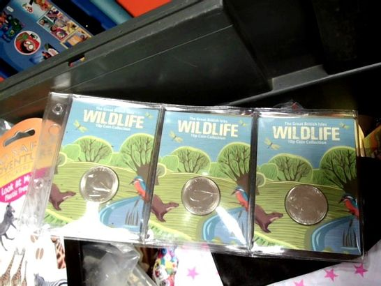 LOT OF APPROX 30 ASSORTED ITEMS TO INCLUDE: WILDLIFE 10P COIN COLLECTION, ORIGAMI PAPER PAD, BIRTHDAY BANNERS