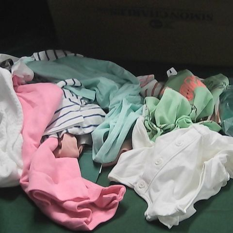 BOX OF ASSORTED BABY/TODDLER CLOTHING TO INCLUDE, DRESSES, TOPS, SOCKS