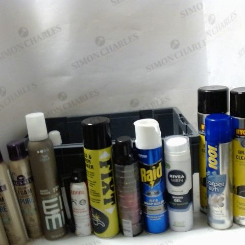 LOT OF ASSORTED ITEMS TO INCLUDE; FOAM CONDITIONER, CARPET CLEANER, FLY SPRAY ETC