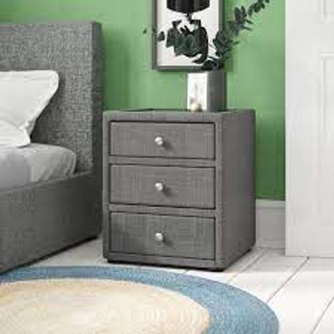 BOXED DAVENEY 3-DRAWER SLATE COLOURED BEDSIDE TABLE (1 BOX)