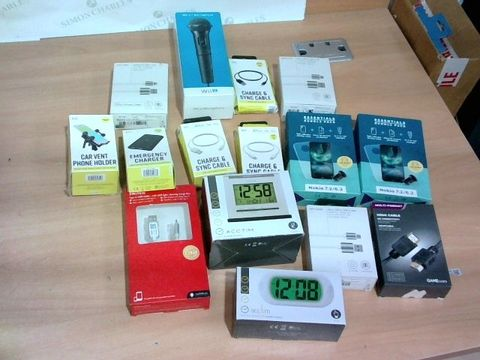 LOT OF APPROXIMATELY 15 ASSORTED HOUSEHOLD ITEMS TO INCLUDE WII U MICROPHONE, ALARM CLOCKS, CHARGE CABLES ETC
