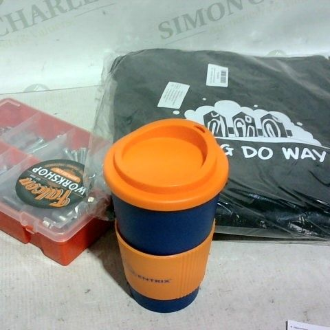 LOT OF APPROX. 20 ASSORTED ITEMS TO INCLUDE: BBQ COVER, HOT DRINK BOTTLE/CUP, BOLT BOX