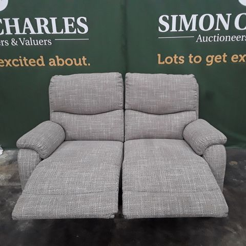 QUALITY BEIGE FABRIC TWO SEATER MANUALLY RECLINING SOFA