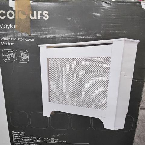 BOXED  COLOURS MAYFAIR MEDIUM RADIATOR COVER - WHITE