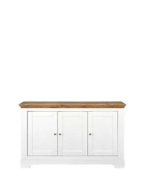 BOXED GRADE 1 WILTSHIRE CREAM AND OAK-EFFECT LARGE SIDEBOARD (1 BOX)